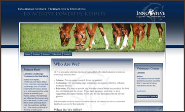 Innovative Equine Technologies Veterinarian Science studies site designed by Equine Originals